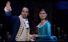 Lin Manuel Miranda as Alexander Hamilton and Phillipa Soo as Eliza Hamilton in the Disney+ film of