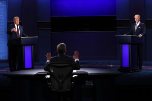 President Donald Trump, left, and Democratic presidential nominee Joe Biden, right, participate in the first presidential debate, moderated by Fox News anchor Chris Wallace at the Health Education Campus of Case Western Reserve University, on Tuesday, Sept. 29, 2020, in Cleveland.