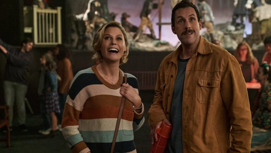 Adam Sandler and Julie Bowen as Hubie and Violet in Hubie Halloween (Photo from IMDb)