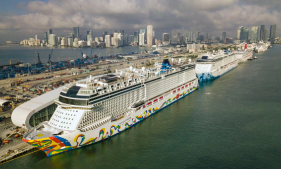 The Norwegian Encore Cruise Ship is docked at the Port of Miami on March 26, 2020.