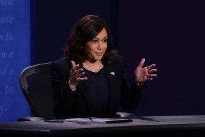 Democratic vice presidential nominee Sen. Kamala Harris (D-CA) participates in the vice presidential debate at the University of Utah on October 7, 2020, in Salt Lake City, Utah.
