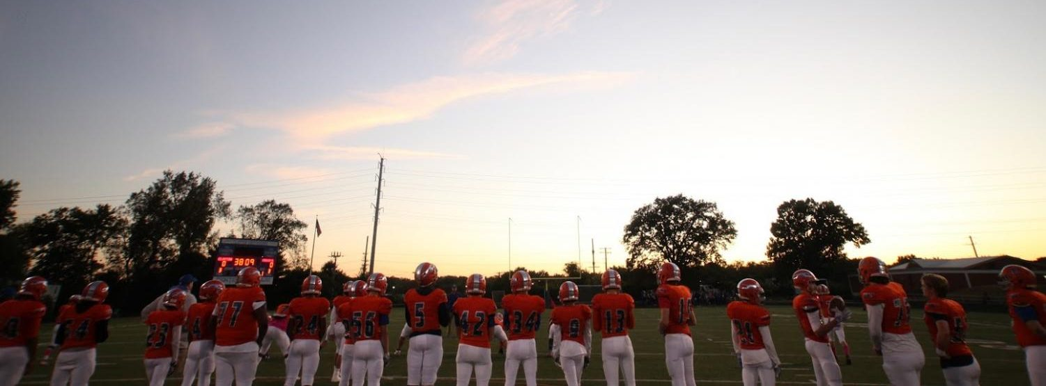 The CHS football team lines up prior to a game against Parkway North on October 18, 2019.