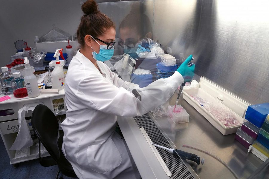 Scientist Shima Nikkhah works on a vaccine for the COVID-19 virus.
