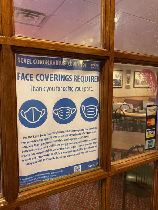 A face covering sign outside a building. Because of the COVD-19 pandemic, face coverings are required at many places.