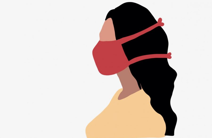 Art by Ella Cuneo. Individuals with Sensory Processing disorder struggle to wear a mask because it can cause overstimulation.