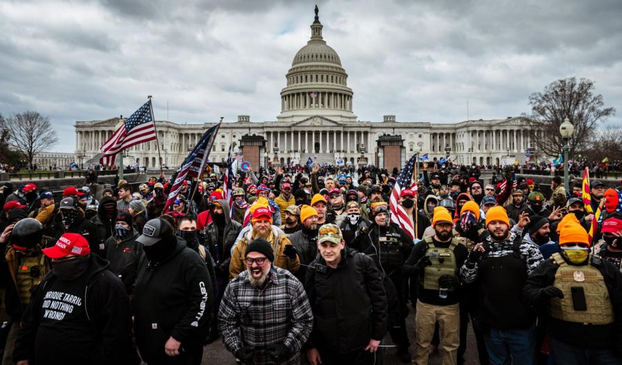 Pro-Trump protesters gather in front of the U.S. Capitol Building on January 6, 2021 in Washington, DC. A pro-Trump mob stormed the Capitol, breaking windows and clashing with police officers. Trump supporters gathered in the nation