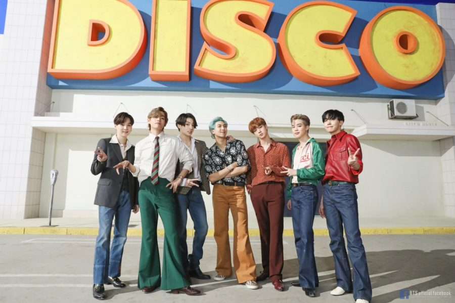 BTS on the set for their English single Dynamite