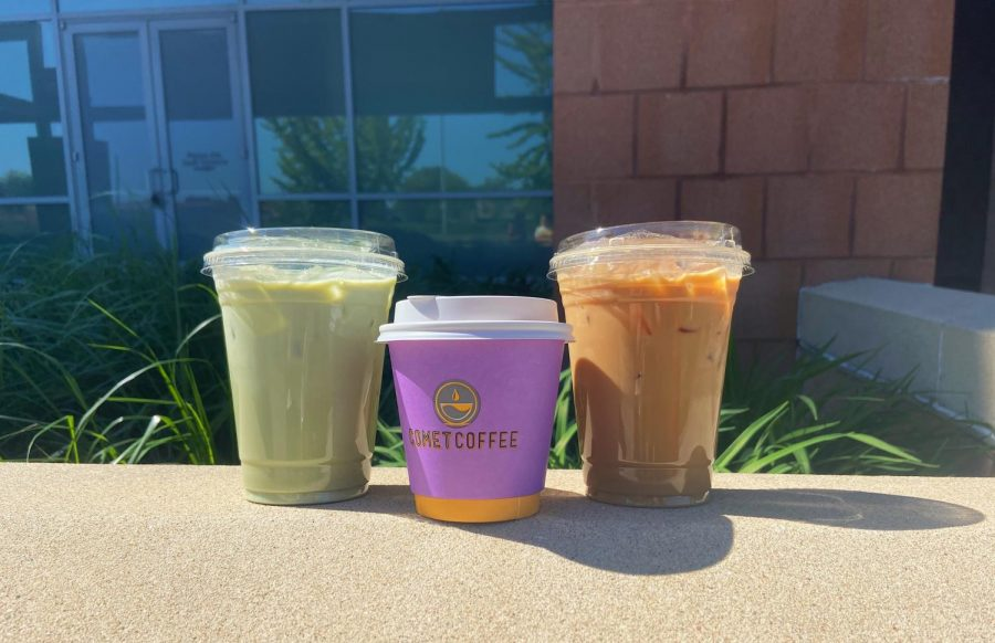 Matcha latte, flat white, and iced caramel latte (left to right)
