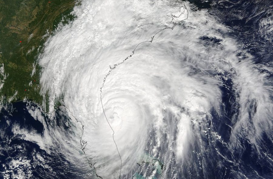 Satellite image of an aerial view of a hurricane.