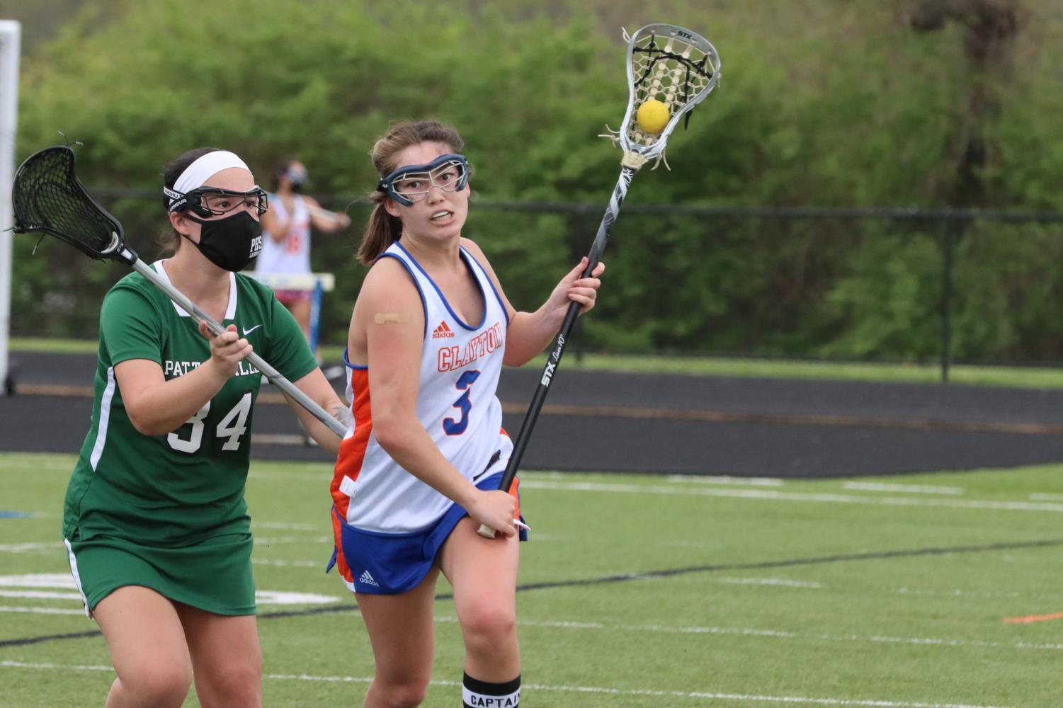 Sarah Centeno carries the ball down the field in a game against Pattonville