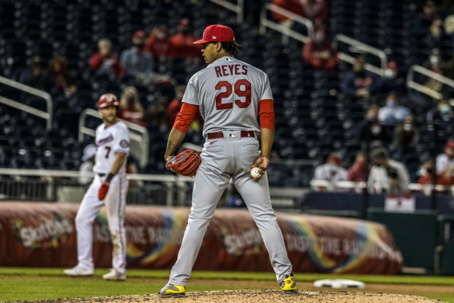 Cardinals reliever Alex Reyes on the mound at Nationals Park in Washington, D.C. on April 20, 2021.